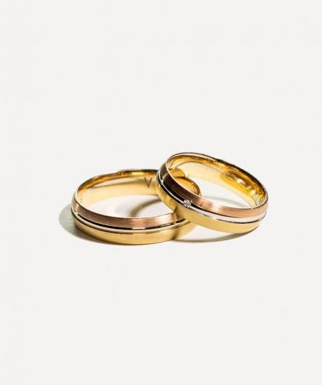 Verighete din aur galben si alb cu model si pietra pentru EA