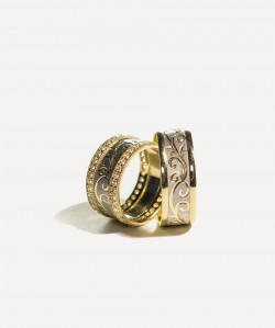 Verighete din aur galben si alb cu model si pietre pentru EA