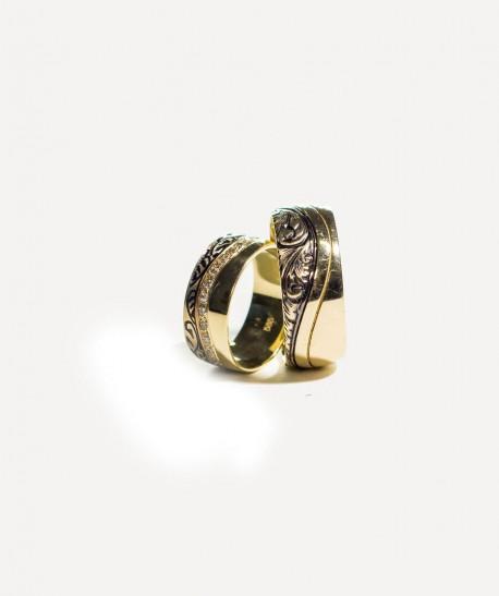 Verighete din aur galben cu model si pietre pentru EA