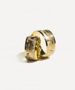 Verighete din aur galben cu model